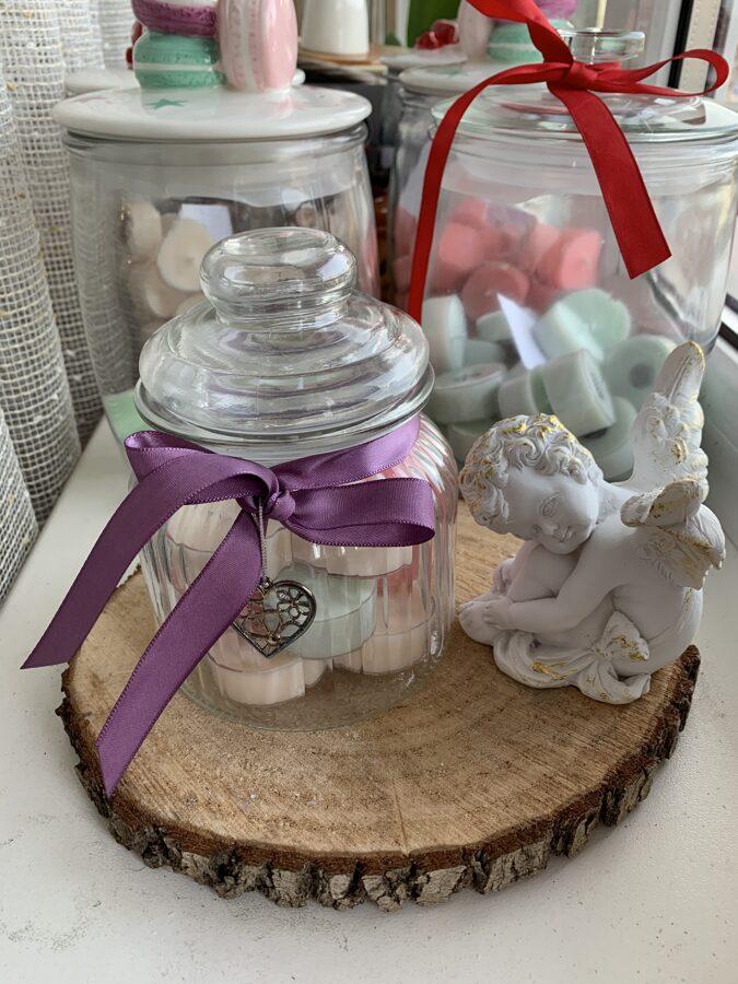 Smaržīgo sojas vaska tējas sveču komplekts skaistā stikla traukā