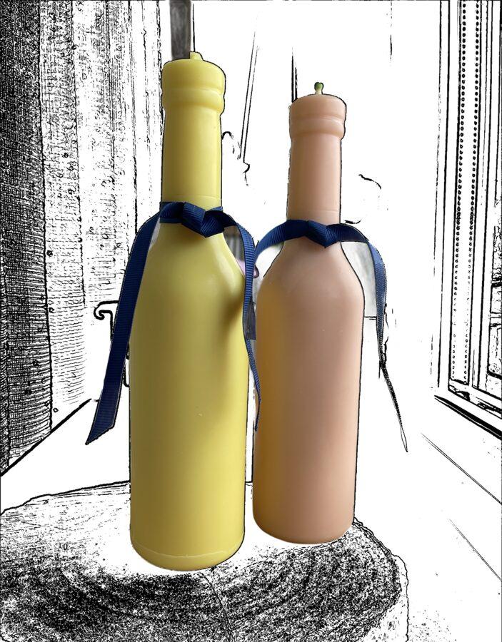 Svece pudeles formā