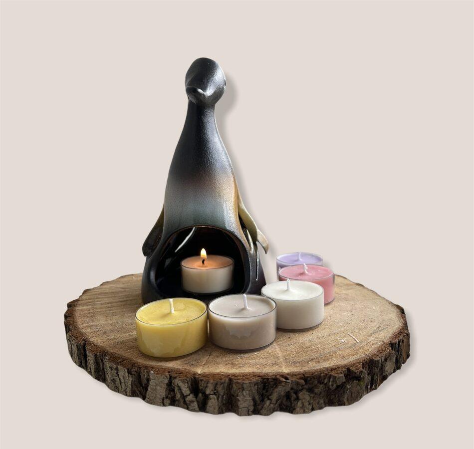 Keramikas trauks Nr.3 + 4 smaržīgās tējas sveces vai bišu vaska tējas sveces
