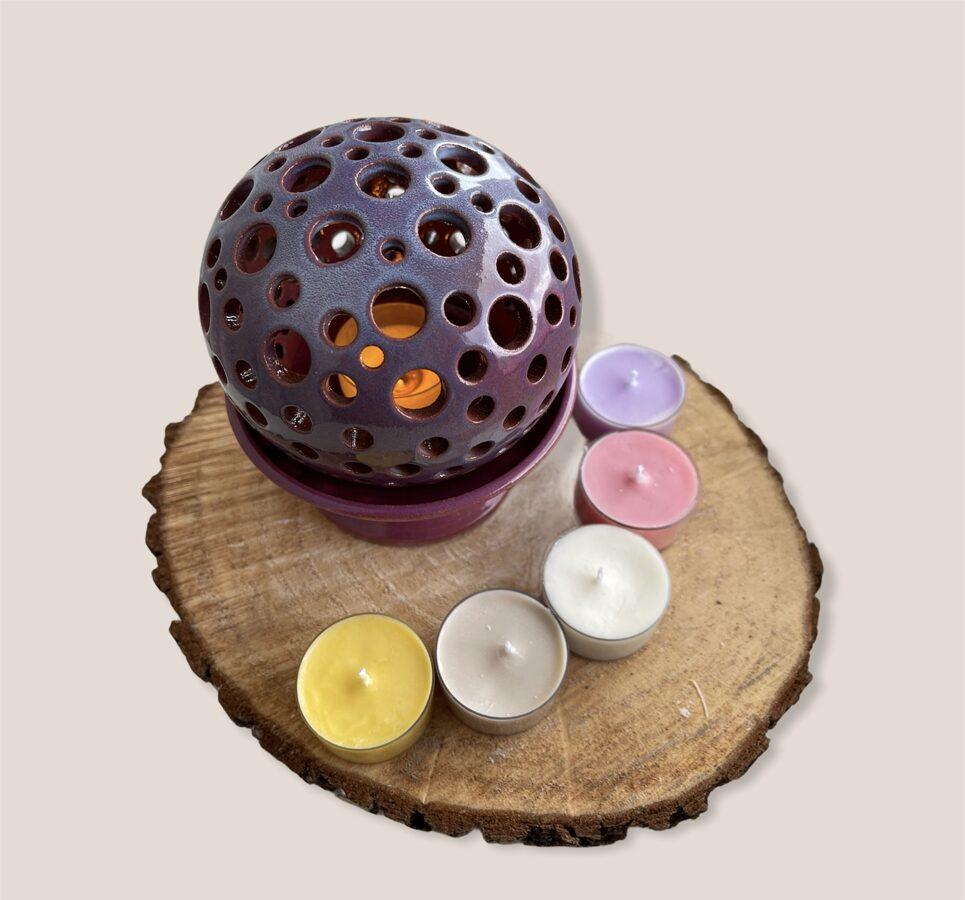 Keramikas trauks Nr.6 + 4 smaržīgās tējas sveces vai bišu vaska tējas sveces