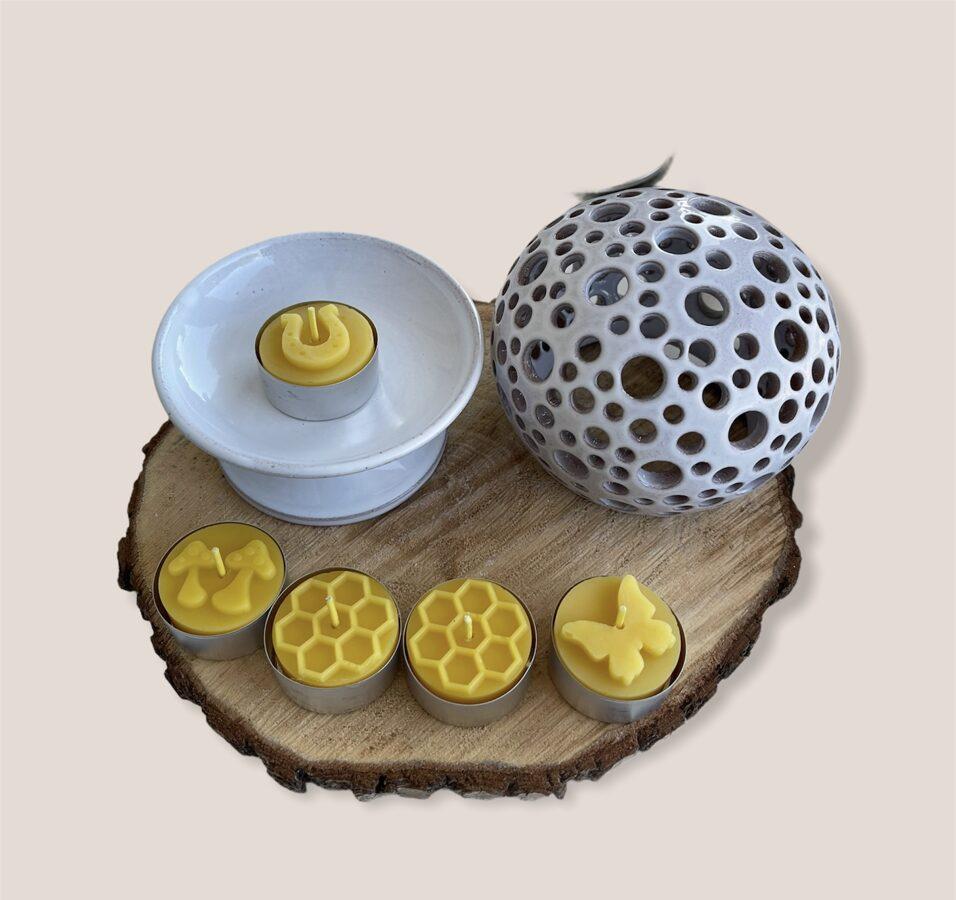 Keramikas trauks Nr.11 + 4 smaržīgās tējas sveces vai bišu vaska tējas sveces