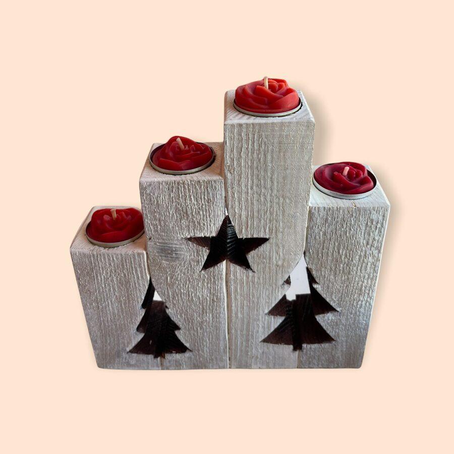 Koka svečturis Ziemassvētku noskaņās ar tējas svecēm (nedalāms)