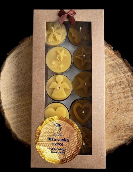 Bišu vaska tējas sveču komplekts Ziemassvētku noskaņās (Nr.2)